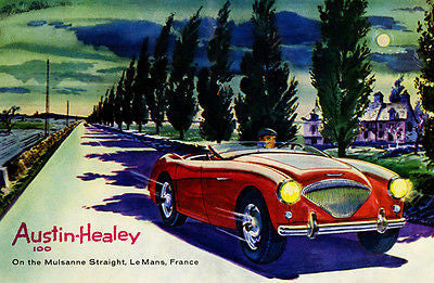 1955 Austin Healey 100 - Le Mans Course - Promotional Advertising Poster