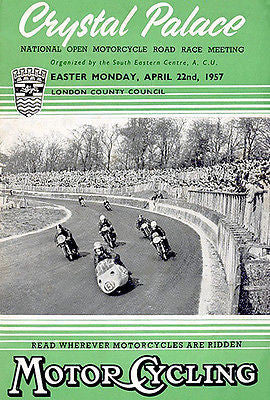 1957 Crystal Palace Motorcycle Races - Promotional Advertising Poster