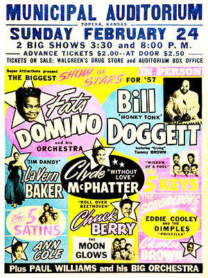 Fats Domino - Bill Doggett - Clyde McPhatter - 1957 - Concert Poster