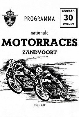 1951 Zandvoort International Motorcycle Races - Promotional Advertising Poster
