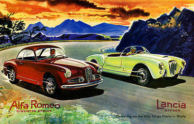 1955 Alfa Romeo Ciulietta Sprint and Lancia Spyder on the Targa Florio - Poster