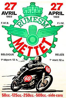 1969 Rumesm Mettet - Belgium - Motorcycle Race - Promotional Advertising Magnet