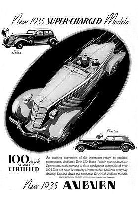 1935 Auburn  - New 1935 Super-Charged Models - Promotional Advertising Poster
