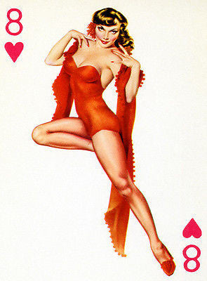 8 of Hearts 1950's Pin up Poster