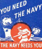 1940's - The Navy Needs You - Matchbook Advertising Poster