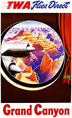 1950's Grand Canyon - TWA Flies Direct - Travel Advertising Poster