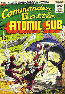 Commander Battle and the Atomic Sub #5 - March - April 1955 - Comic Book Cover Poster