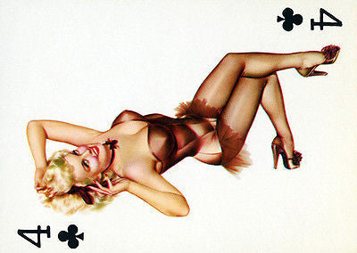 4 of Clubs 1950's Pin up Poster