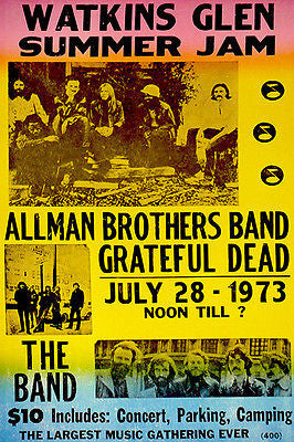 Allman Brothers - Grateful Dead - The Band - 1973 - Watkins Glen Concert Poster