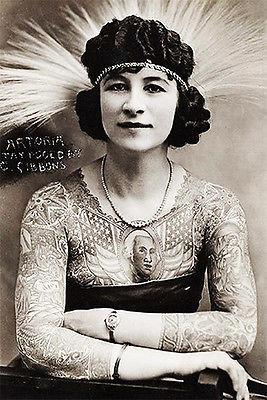 1920's Carnival Sideshow - Artoria Gibbons The Tattooed Woman - Postcard Magnet