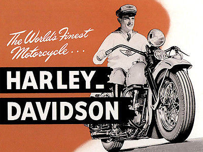 1939 Harley-Davidson - The World's Finest Motorcycle... -  Promotional Advertising Poster