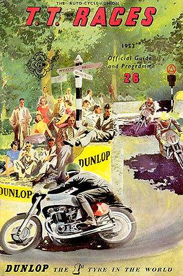 1953 Isle of Man TT Motorcycle Race - Promotional Advertising Magnet