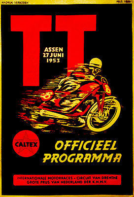 1953 Dutch T. T. Motorcycle Race - Promotional Advertising Poster