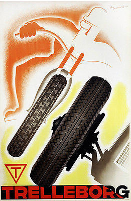 1933 Trelleborg Motorcycle & Auto Race Tires - Promotional Advertising Poster