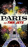 1960's Paris - Fly TWA Jets -  Travel Advertising Poster
