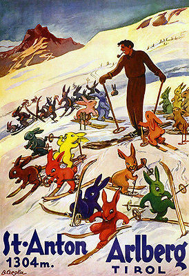 1930's St Anton am Arlberg - Tyrol Austria - Skiing - Travel Advertising Poster
