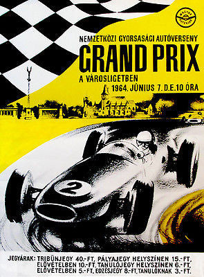 1964 Hungarian Grand Prix Race - Promotional Advertising Poster