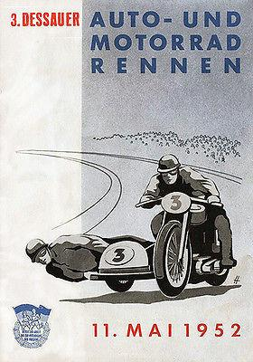 1952 Dessau Circuit Motorcycle Races - Promotional Advertising Magnet