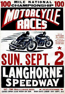 Langhorne Speedway Motorcycle Races - 1956 - Promotional Advertising Magnet