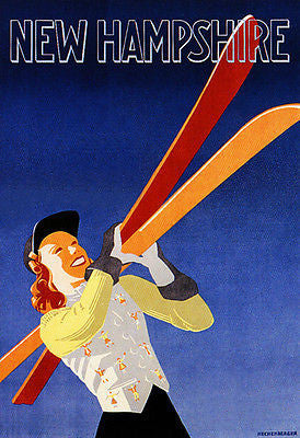 1940's - New Hampshire - Ski - Travel Advertising Poster