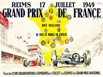 1949 Grand Prix De France Race - Promotional Advertising Poster