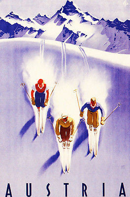 1930's - Austria - Three Skiers - Travel Advertising Poster