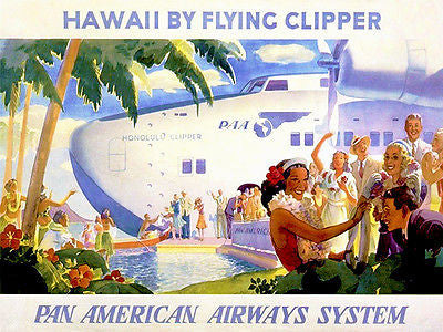 1939 Hawaii By Flying Clipper - Pan American Airways - Travel Advertising Poster