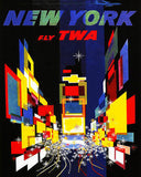 1957 New York - Fly TWA - Travel Advertising Poster