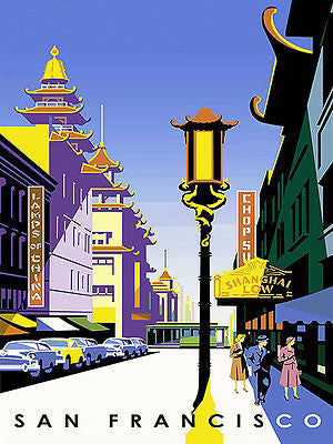 1950's - San Francisco - Chinatown  - Travel Advertising Poster