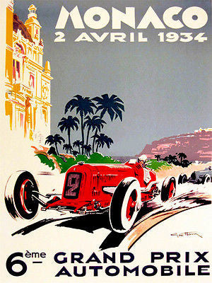 1934 Monaco Grand Prix Race - Promotional Advertising Poster