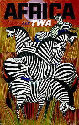 1960's Africa - Fly TWA - Travel Advertising Poster