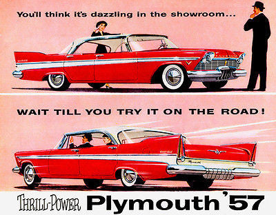 1957 Plymouth Thrill Power - Promotional Advertising Poster