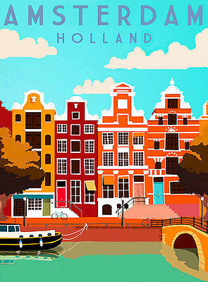 1950's - Amsterdam Holland - Travel Advertising Poster