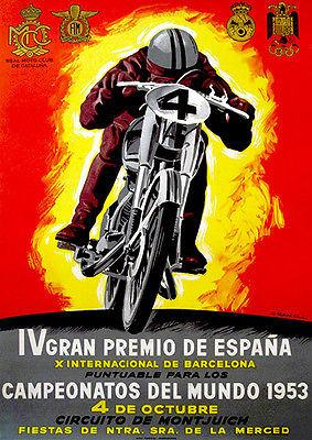 1953 Spanish Grand Prix Motorcycle Race - Promotional Advertising Magnet