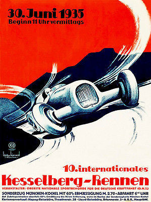 1935 Kesselberg - Rennen Race - Promotional Advertising Poster