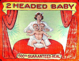 1940's Carnival Sideshow - 2-headed Baby - Magnet