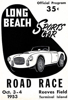 1953 Long Beach Sports Car Road Race - Promotional Advertising Poster