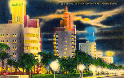 A Fantasy in Neon - Collins Ave - Miami Beach FL - Vintage Postcard Poster