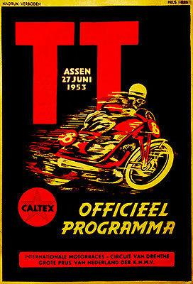1953 Dutch T. T. Motorcycle Race - Promotional Advertising Magnet