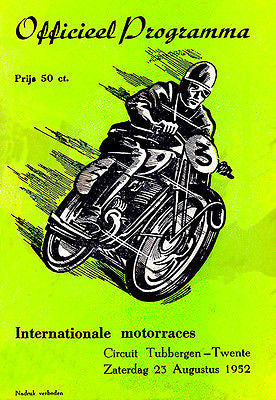 1952 Tubbergen Circuit Motorcycle Races - Promotional Advertising Poster