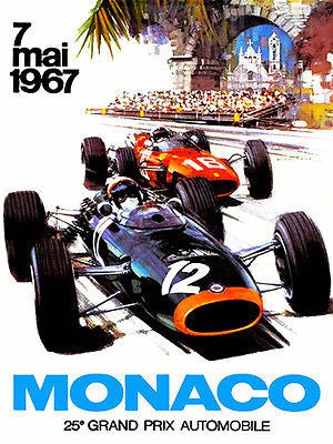 1967 Monaco Grand Prix Race - Promotional Advertising Poster