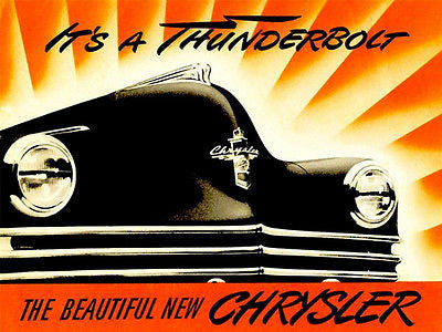 1942 Chrysler - It's A Thunderbolt - Promotional Advertising Poster