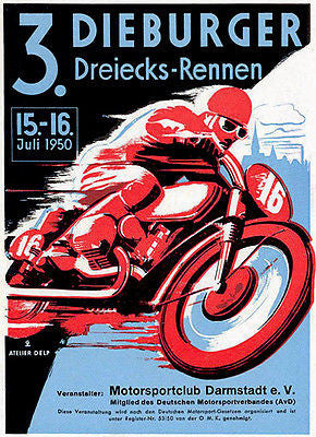 1950 Dieburger Triangle Motorcycle Race - Promotional Advertising Poster