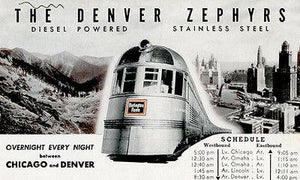 The Denver Zephyr Train - Chicago and Denver - Vintage Postcard Magnet