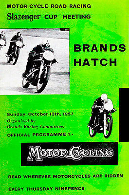 1957 Slazenger Cup Meet Motorcycle Race - Brands Hatch - Promotional Poster