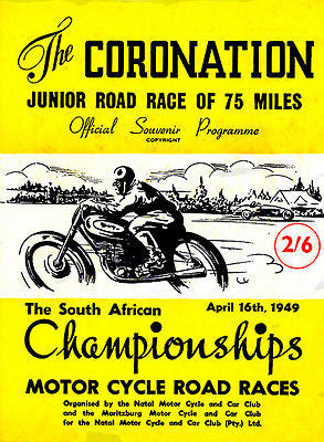 1949 South African Championships Motorcycle Road Races  - Promotional Poster