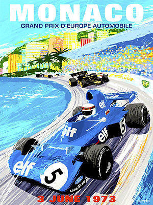 1973 Monaco Grand Prix Race - Promotional Advertising Poster