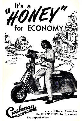 1949 Cushman - It's A Honey For Economy - Promotional Advertising Poster