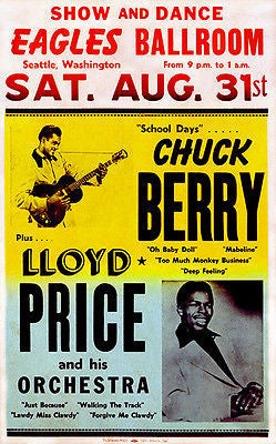 Chuck Berry - Lloyd Price - Eagles Ballroom, Seattle - 1957 - Concert Poster
