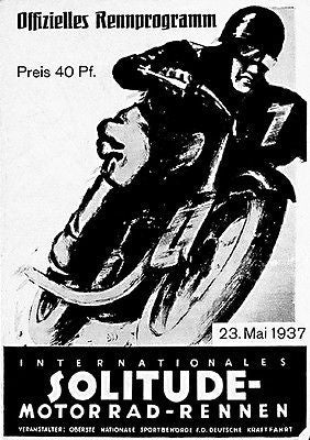 1937 Internationales Solitude Motorcycle Race - Promotional Advertising Poster